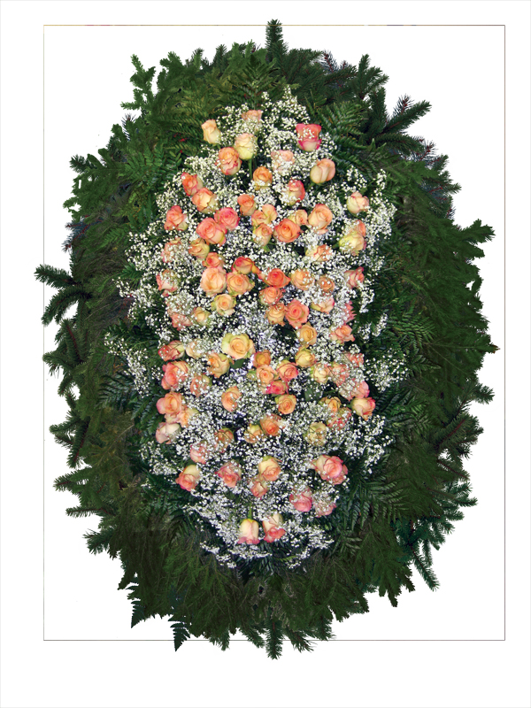 Венок из живых цветов 05